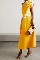 Thumbnail for your product : Lela Rose One-shoulder Appliqued Cotton-poplin Midi Dress - Yellow