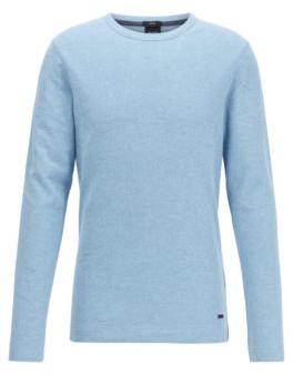 HUGO BOSS - Slim Fit T Shirt With Long Sleeves In Waffle Cotton - Dark Orange