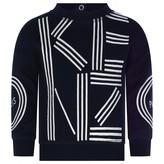 Kenzo KidsGirls Navy Logo Print Cotton Sweater