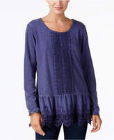 Style&Co. Style & Co Petite Lace-Trim Peplum Tunic, Created for Macy's
