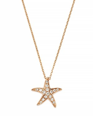 Bloomingdale's Diamond Starfish Pendant Necklace in 14K Rose Gold, .14 ct. t.w.