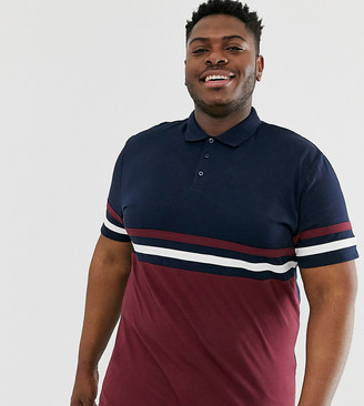 Asos Design DESIGN Plus polo shirt with contrast body and sleeve panels in navy
