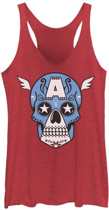 Licensed Character Juniors' Marvel Avengers Captain America Sugar Skull Tank Top