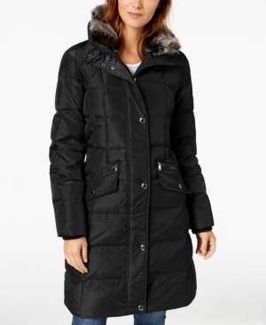 London Fog Hooded Faux-Fur-Trim Puffer Coat