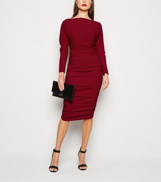 New Look AX Paris Ruched Slash Neck Midi Dress