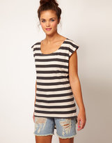 River Island Stripe Dipped Hem T-Shirt