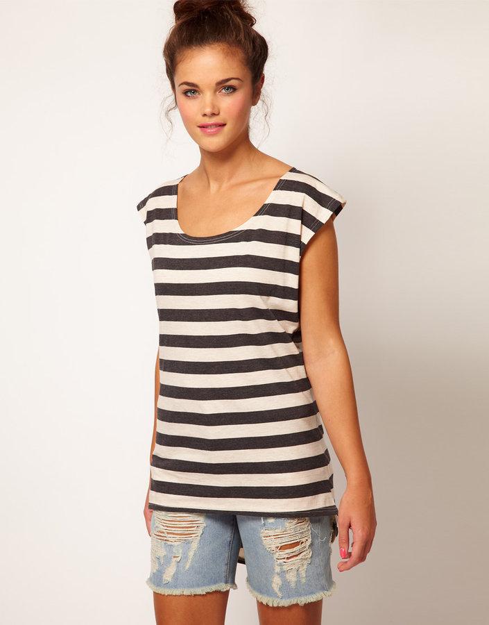 River Island Stripe Dipped Hem T-Shirt