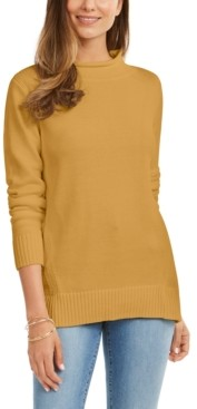 Karen Scott Rolled Mock-Neck Cotton Sweater, Created For Macy's