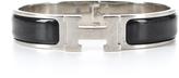 Hermes Black Enamel Silver Narrow Clic Clac PM Bracelet