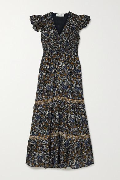 Sea Walker Shirred Floral-print Fil Coupe Voile Dress - Black