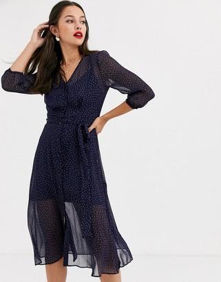 Miss Selfridge midi tea dress in navy polka dot