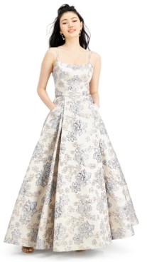 Blondie Nites Juniors' Brocade Ball Gown with Pockets