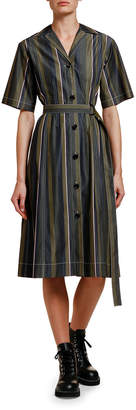 Marni Striped Half-Sleeve Cotton Shirtdress