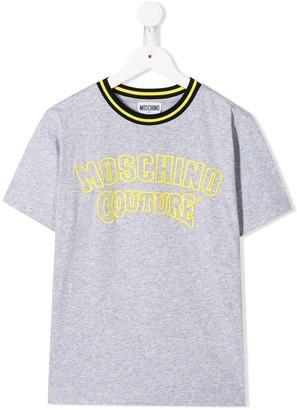 MOSCHINO BAMBINO TEEN crew neck logo embroidered T-shirt