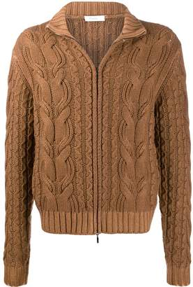 Cruciani zipped cable knit jumper