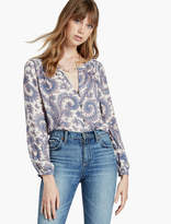 Lucky Brand Paisley Btn Frnt Blouse