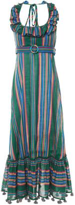 Zimmermann Ruffled Striped Cotton Halterneck Maxi Dress