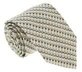 Missoni U4715 Yellow And Powder Blue Checkered 100% Silk Tie.
