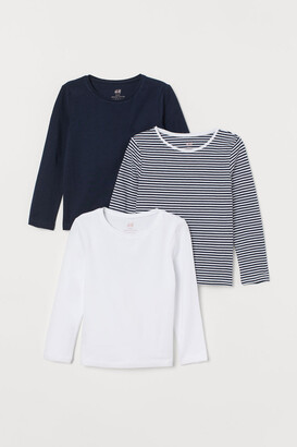 H&M 3-pack Long-sleeved Tops - Blue