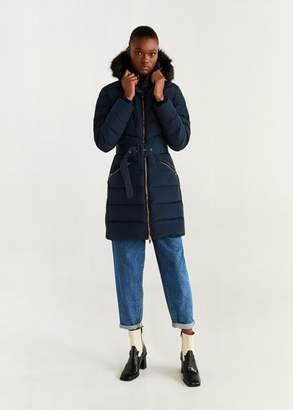 MANGO Quilted feather coat