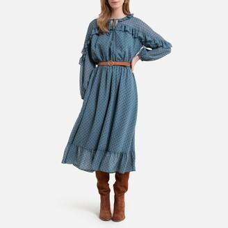 La Redoute Collections Polka Dot Boho Midi Dress with Ruffled and Long Sleeves