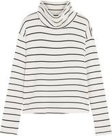 Splendid Striped Stretch-modal Terry Turtleneck Top - White