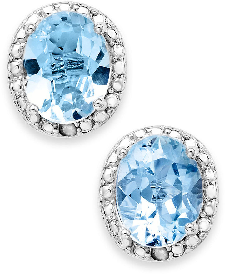 Townsend Victoria Sterling Silver Earrings, Blue Topaz (4-9/10 ct. t.w.) and Diamond Accent Oval Stud Earrings
