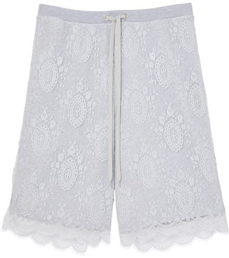Burberry Chantilly Lace And Cotton Drawcord Shorts