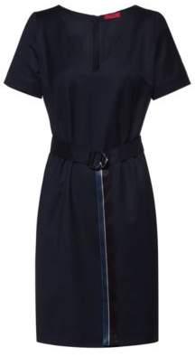 HUGO V-neck flannel dress with striped D-ring belt