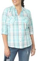 Evans Plus Size Women's Roll Sleeve Check Plaid Shirt
