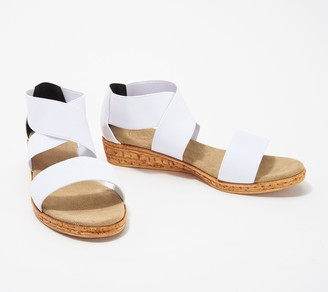 Charleston Shoe Co. Stretch Cross-Band Demi Wedges - Peri