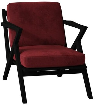 Poshbin Ace Armchair Body Fabric: Bella Berry, Frame Color: Black, Cushion Fill: Soft