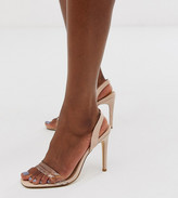 Truffle Collection wide fit clear strap barely there square toe heeled sandals in beige