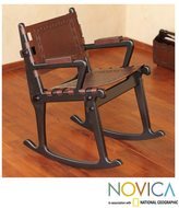 Novica Mohena Wood and Leather Rocking Chair 'Inca Memories' (Peru)