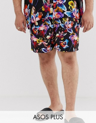 Asos Design DESIGN Plus two-piece swim short with bright floral print in mid length-Black
