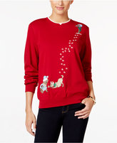Alfred Dunner Petite Classics Dog Holiday Knit Top