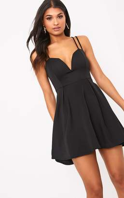 PrettyLittleThing Black V Plunge Double Strap Skater Dress