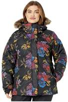 Columbia Plus Size Lay D Downtm II Jacket (Black Floral Print) Women's Coat