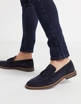 Walk London west tassel loafers in navy suede