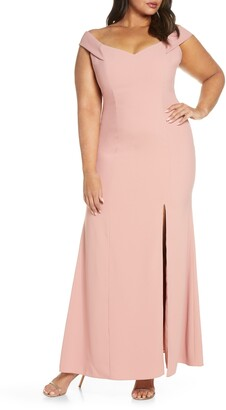Dessy Collection Off the Shoulder Crossback Gown