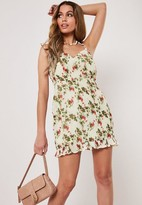 Missguided White Floral Shirred Tie Shoulder Mini Dress
