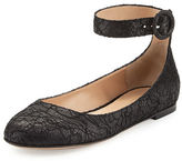Gianvito Rossi Lace Ankle-Strap Ballerina Flat