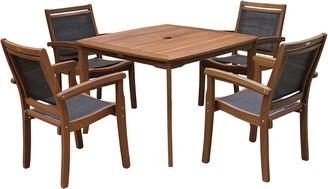 Outdoor Interiors 5Pc Sling & Eucalyptus Dining Set