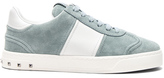 Valentino Suede Fly Crew Sneakers in Blue.