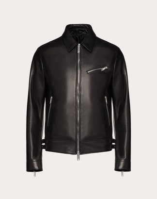 Valentino Vltn Leather Jacket Man Black 100% Lambskin 44