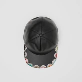 Burberry Bottle Cap Detail Leather Baseball Cap