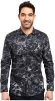 Calvin Klein Long Sleeve Marble Print Button Down Shirt