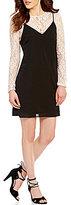 Soprano Long-Sleeve Lace 2-Fer Slip Dress
