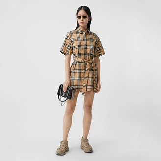 Burberry Zebra Applique Vintage Check Cotton Twill Shirt Dress