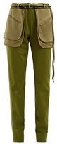 Valentino Exposed-pocket Silk-blend Trousers - Womens - Dark Green